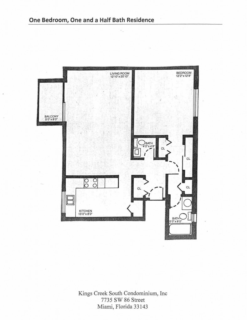 One Bedroom One and a Half Bath Residence Floorplan