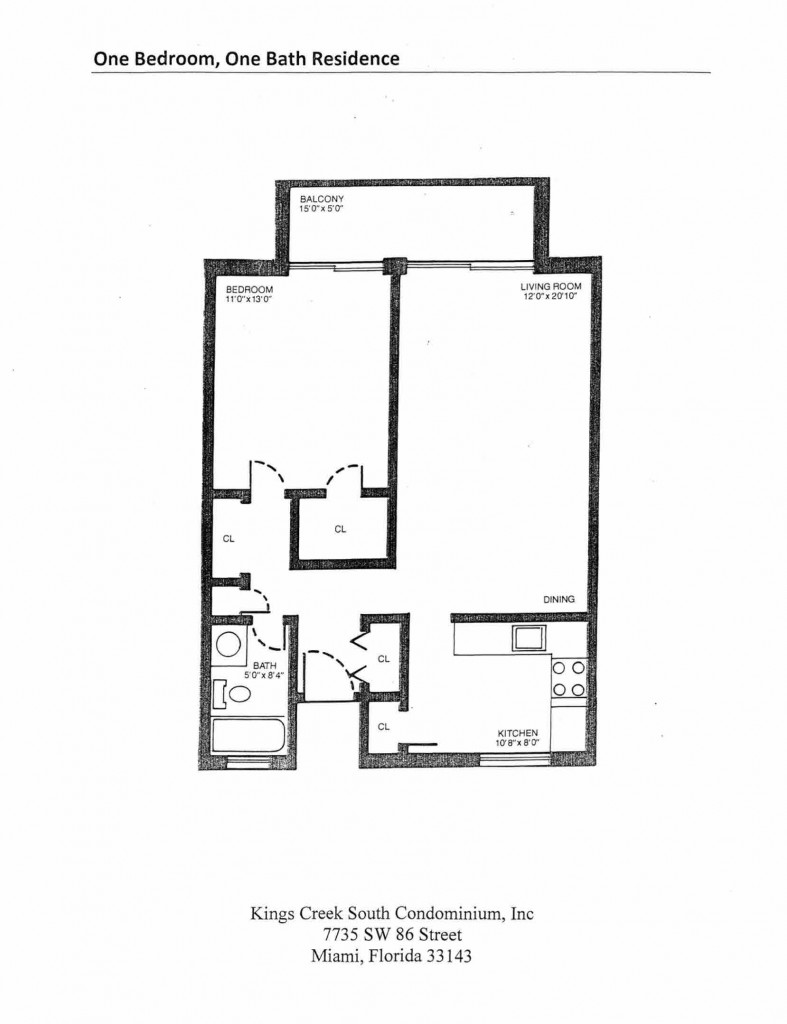 One Bedroom One Bath Residence Floorplan