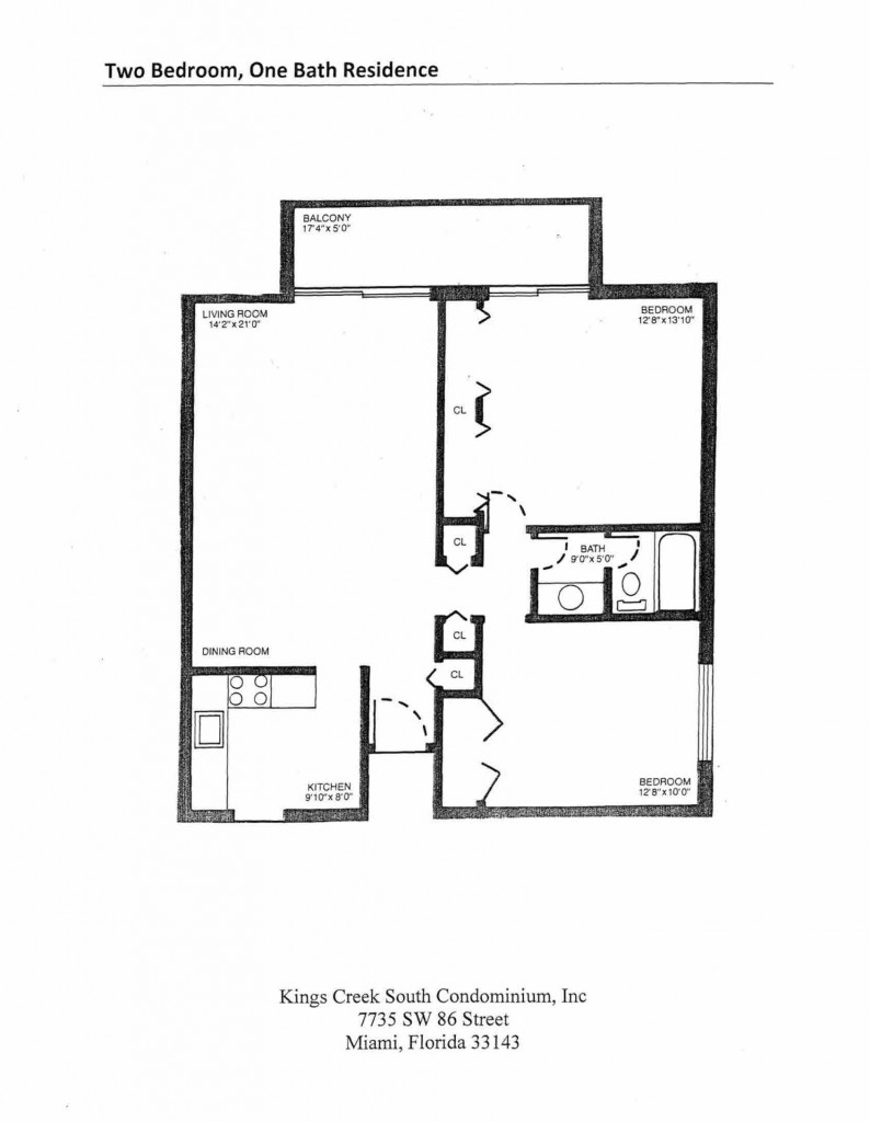 Two Bedroom One Bath Residence Floorplan