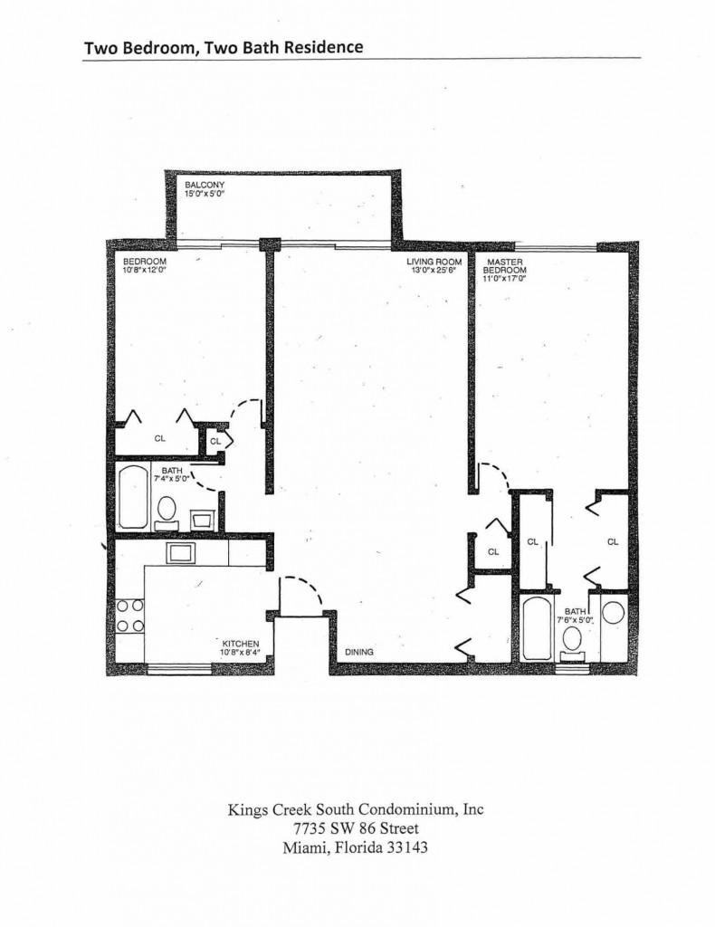 Two Bedroom Two Bath Residence Floorplan