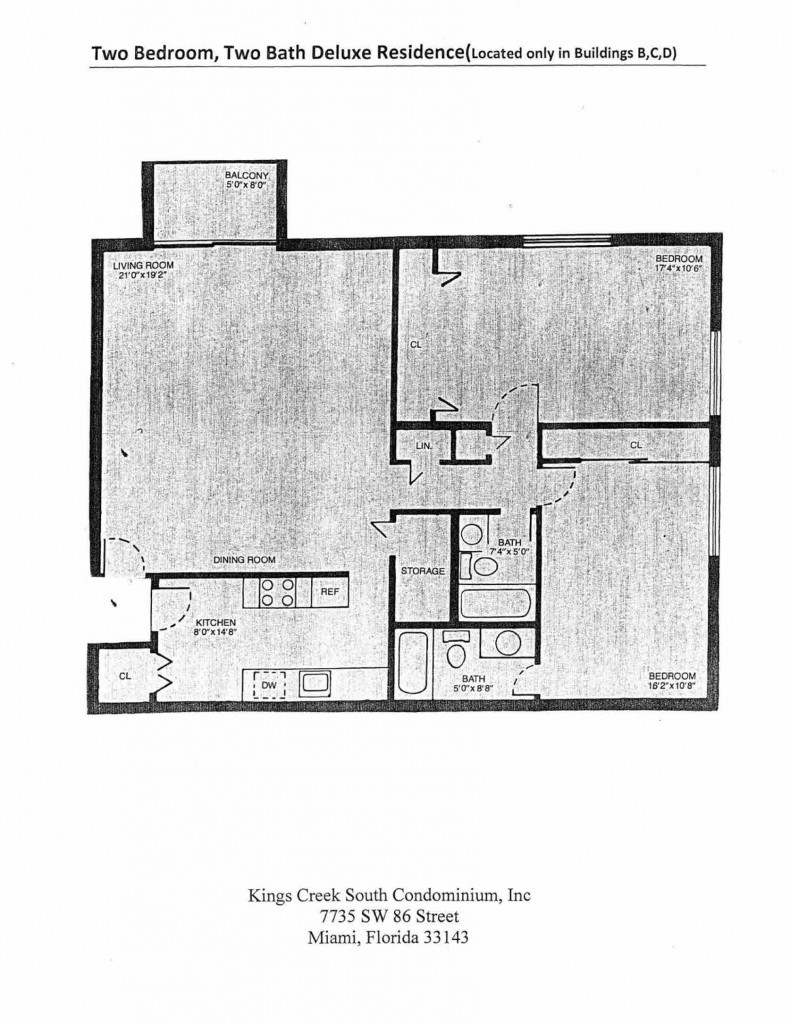 Two Bedroom Two Bath Deluxe Residence Floorplan